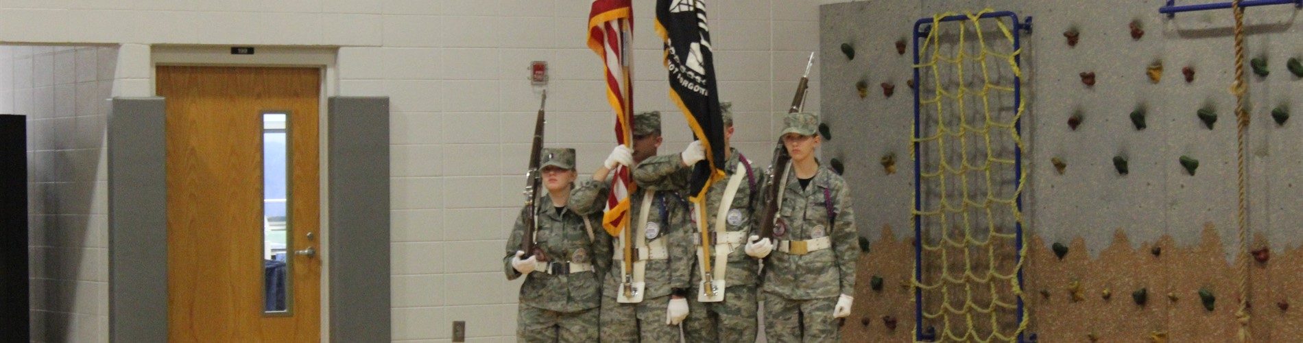 ROTC members with our flag.