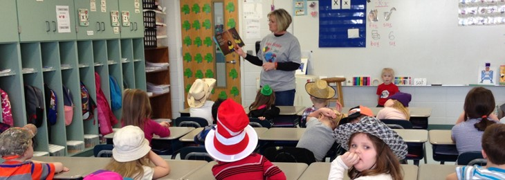 JPE celebrates Dr. Seuss Day with community members.  Thank you for reading to us!