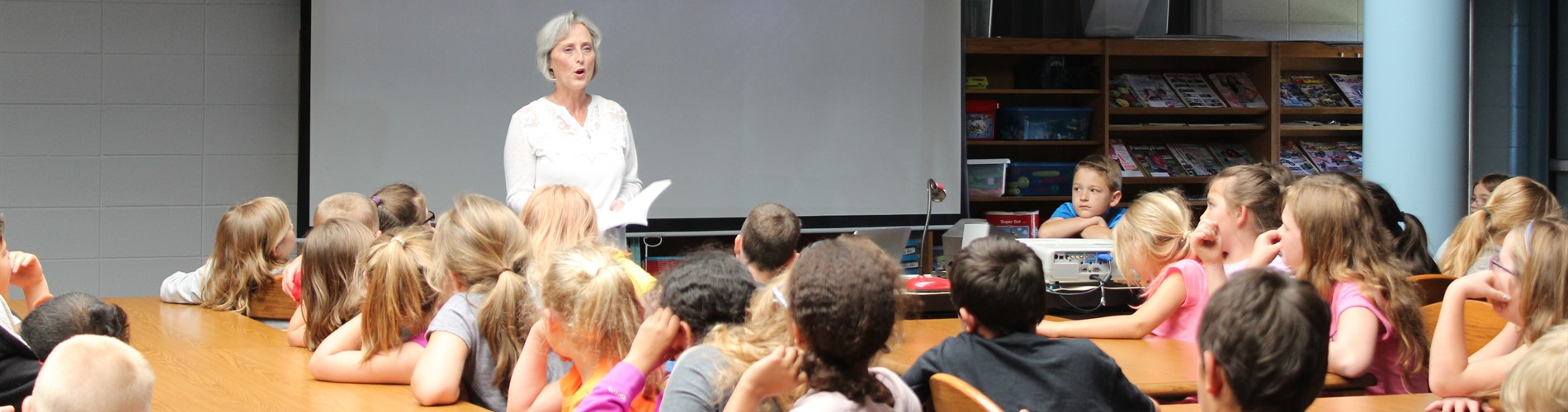 Author Sandra Lawson visits JPE to teach students about becoming an author.